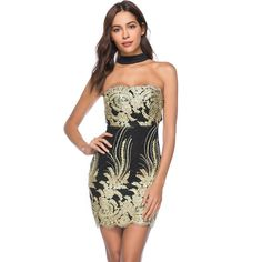 9d79ec7e43c 2018 Women Sexy dress Strapless Package hip Embroidered Mini dress Female  Summer New Casual dress Nightclub Bodycon Party dress.