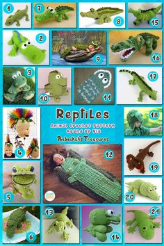 Roundup: 21 #crochet patterns for reptiles, curated by Rebeckah's Treasures