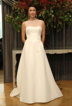 Simple, classic floor-length, a-line bateau illusion gown. Judd Waddell - Fall 2012 (brides.com)