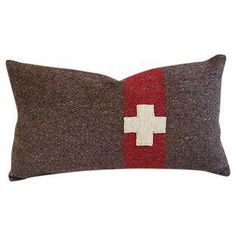 Swiss Wool Blanket Cross Accent Pillow on Chairish.com