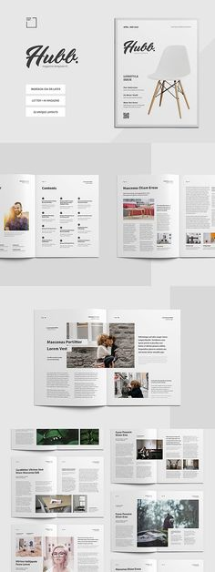 Hubb Magazine Template - Premium magazine template for Adobe InDesign with clean & neat layout. Page Layout Design, Magazine Layout Design, Book Design, Magazine Layouts, Brochure Layout, Brochure Design, Editorial Layout, Editorial Design, Layout Template