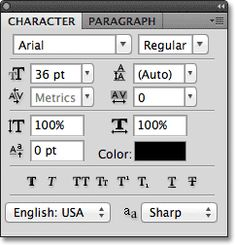 The Character and Paragraph panels in Photoshop. http://www.photoshopessentials.com/basics/type/character-panel/