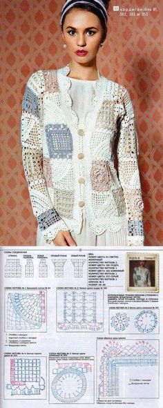 26 New Ideas Crochet Sweater Jacket Pattern Winter Beau Crochet, Moda Crochet, Pull Crochet, Crochet Blocks, Crochet Squares, Crochet Granny, Crochet Motif, Cardigan Au Crochet, Gilet Crochet