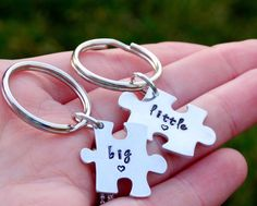 Big Little Hand Stamped Keychain Set Big Little by ShesaGemJewelry