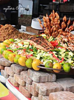 Fish, Shrimp, Veggies, & Rice at a Food Vendor at the Florida Seafood Festival in Apalachicola, Florida | Oysters & Pearls