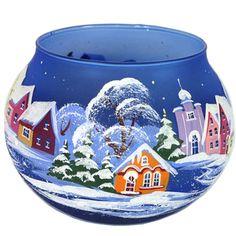 Verre Bougeoir peint à la main de l'hiver par HolidayGiftShops