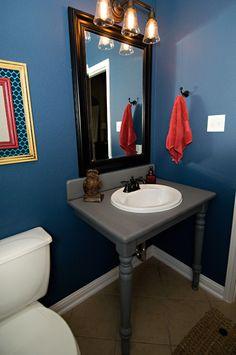 @Living With Lindsay's newly finished bathroom sink - via MyColortopia.com