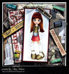 My Eclectic Spirit    SC Tourist    Copics: Hair: E21-33-39-29; Shoes & Top: E81-84-87-89; Skirt: many including R39-29-24; Paper: Teresa Collins World Traveler; see Copic tips on this post