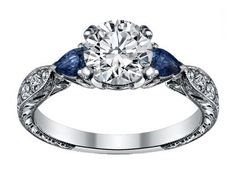 Diamond Engagement Ring Blue Sapphire Pear side stones Hand engraved White Gold band