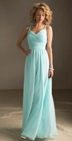 Turquoise Spaghetti Straps Pleat Draped Chiffon Long Bridesmaid Dress