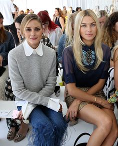 Olivia Palermo and model Jessica Hart attend Delpozo Front Row September 2016 during New York Fashion Week at Pier 59 Studios on September 14 2016 in...