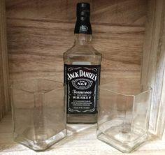 Jack Daniel's rocks-tumbler glasses upcycled/repurposed by Bottleford on Etsy