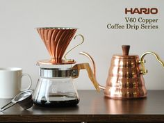 HARIO V60 Copper Pour Over Kettle and Dripper. This is our dream for our pourover setup.