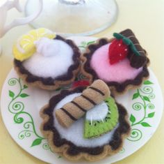 Miniature Fruit Tart- Felt Play Food