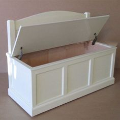 Wooden Toy Chest-Bench-Antique White-Rainbow by weaverwood on Etsy Wooden Toy Chest, Wooden Toy Boxes, White Toy Box, Homemade Kids Toys, Wood Kids Toys, Kids Toys For Christmas, Kids Toy Kitchen, Kids Toy Chest, Toy Room Organization