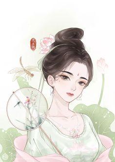 Chinese Drawings, Cartoon Girl Images, Chinese Cartoon, Lovely Creatures, Painting Of Girl, China Art, Anime Art Girl, Japanese Art, Kawaii Anime