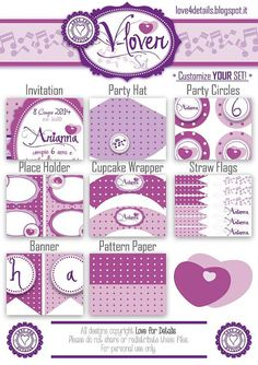 V-LOVERS: printable birthday package €25 - Violetta Birthday Party printable - Festa tema violetta