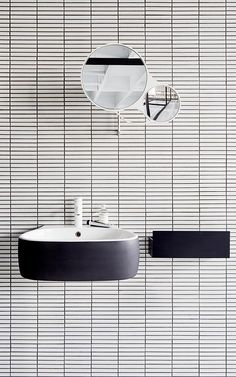 floating sink by Agape + white tile + black grout + round mirror Bathroom Toilets, Laundry In Bathroom, Mirror Bathroom, Washroom, Bad Inspiration, Bathroom Inspiration, Bathroom Inspo, Creative Inspiration, Bathroom Ideas