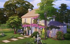 Lilac Manor: CC-free, 2 bedroom homeA French country manor covered in plantlife for sims who love to live simply! Sims 4 House Plans, Sims 4 House Building, My Sims, Sims Cc, Sims 4 Loft, Sims 4 House Design, The Sims 4 Lots, Casas The Sims 4, Sims 4 Characters