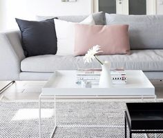 Killer color combo: black, white, pale pink + grey