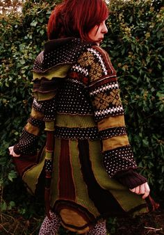 SALE varm nordic elf pixie gypsy hippie bohemian coat cloak in moss olive green and rust brown upcycled norwegian knittet wool sweaters
