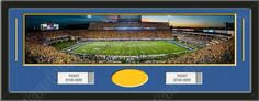 One framed large University of West Virginia stadium panoramic with openings for one or two ticket stubs* and one or two 4 x 6 inch personal photos**, double matted in team colors to 39 x 13.5 in.  The lines show the bottom mat color. $179.99          @ ArtandMore.com