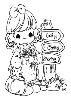 "Precious Moments Coloring Page:  Girl next to tree stump sign ""Loving Caring Sharing"""