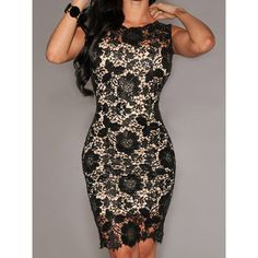 Elegant Jewel Neck Sleeveless Bodycon Lace Dress For Women