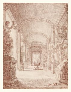 A Draftsman in the Capitoline Gallery; Hubert Robert (French, 1733 - 1808); Italy; about 1765; Red chalk; 45.7 × 33.7 cm (18 × 13 1/4 in.); 2007.12; J. Paul Getty Museum, Los Angeles, California
