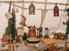 camp kitchen. Love the bunny strung up!