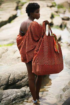 Orange Wax Print Top | Orange Wax Print Oversized Tote Bag