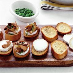 Crostini and Toppings Recipes - Crostini Topping Ideas - I mixed pastrami crostini- grind pastrami, kraut, mix w/ crm chz-lit toast baguette slices and spread over-top w/ mix chz and broil- garnish w/ scallions? great