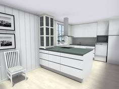 3D floor plan for kitchen remodeling project designed by Marit Skei in #RoomSketcher Premium floor planner. Try for free: http://planner.roomsketcher.com/?ctxt=rs_com  #floorplan #floorplanner #kitchen #remodeling