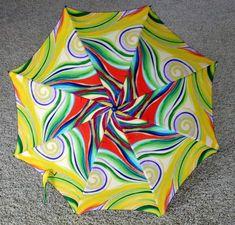Swirl umbrella made from Umbrella Joan pattern and frame.
