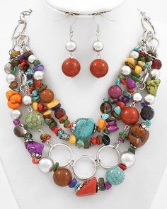 Fashionable and colorful Jewelry -- use up all leftover beads in one necklace. Women's Necklaces, Unique Necklaces, Unique Earrings, Jewelry Sets, Jewelry Making, Beaded Jewelry, Handmade Jewelry, Wire Wrapped Necklace, Colorful Bracelets