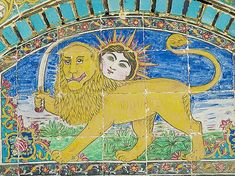 Lion and Sun symbol. Decorated tiles in Takieh Moaven ol molk in Kermanshah, Iran Source Transferred from fa.wikipedia to Commons. Author Coffeetalkh at Persian Wikipedia Muslim Religion, The Shah Of Iran, Ancient Persian, Persian Culture, Sun Designs, Lion Of Judah, Sumerian, Arabian Nights, Coat Of Arms