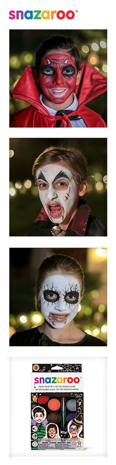 You can create three thrillingly spooky looks with our Halloween kit. Discover more at Snazaroo.
