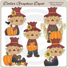 Fall Scarecrows Clip Art Set, by Primsy Resale - Only $1.00 at www.DollarGraphicsDepot.com : Great for printable crafts, web graphics, scrapbook pages, autumn greeting cards, gift boxes / bags, gift tags / labels, autumn window decals, popcorn boxes, hot cocoa / apple cider packets, bag toppers, candy bar wrappers, embroidery patterns, and much more!