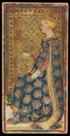 The Queen of Coins | Bonifacio Bembo for Visconti-Sforza Family | Medieval Tarot Cards | ca. 1450 | card no. 21 | The Morgan Library & Museum