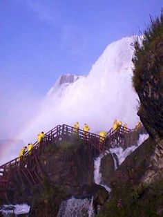 "The Cave of the Winds trip takes you closer to the waters of Niagara Falls than you thought possible. You ride an elevator 175 feet (53 meters) deep into the Niagara Gorge. Then, clad in a bright yellow poncho and wearing the special footwear provided, you follow a tour guide over a series of wooden walkways to the famous ""Hurricane Deck"". As you stand at the railing, you are a mere 20 feet (6 meters) from the billowing torrents of Bridal Veil Falls. The rushing waters loom above you…"