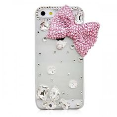 Glitter Clear Colored Rhinestone Bowknot Design Hard Case Cover for iPhone 5