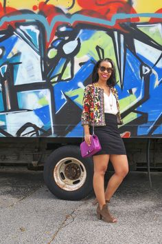 Style blogger, What Nicole Wore, shares the best lessons from her parents, how to live by this life advice, plus style tips for wearing statement pieces this fall. // purple crossbody bag rebecca minkoff, statement blazer under $50, karen walker oversized sunglasses, charming charlie necklace