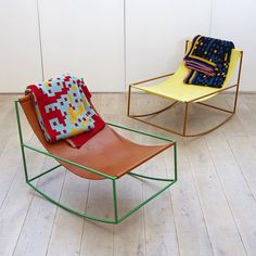 Styled rockers, neat shaped metal frame with leather seat, mgr eat frame colours. Styled with Welsh blankets. Steel Furniture, Funky Furniture, Furniture Design, Timber Furniture, Chaise Vintage, Deco Design, Home And Deco, Modern Chairs, Cheap Home Decor