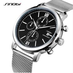 20f8bb97d69 SINOBI Men s Waterproof Sports Stainless Steel Watch