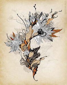 Floral 1  Giclee Print 11x14 van onesweetorange op Etsy, $30.00