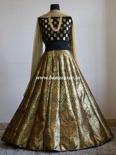 Banarasee/Banarasi Handwoven Art Silk Unstitched Lehenga & Blouse Fabric-Black
