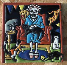 """Talavera Mexican tile 6"""" Day of  the Dead high relief tile CRAZY CAT LADY WOMAN"""
