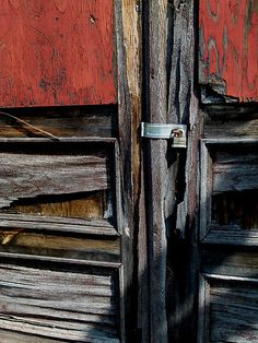 Red Door and Lock.  Greeting cards, postcards, prints available.