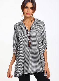 Blouses - $30.22 - Tartan Casual Cotton Linen V-Neckline Short Sleeve Blouses (01645221059)