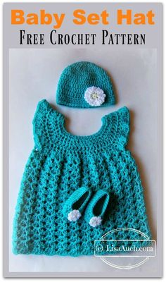 Hat Booties and Dress Baby Set Free Crochet Pattern